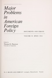 Cover of: Major problems in American foreign policy