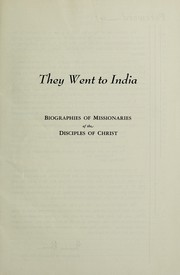 Cover of: They went to India | Edith Eberle Yocum