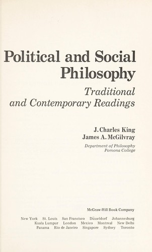 Political and social philosophy by Jessie Charles King