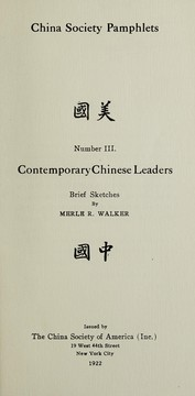 Cover of: Contemporary Chinese leaders