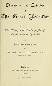 Cover of: Characters and episodes of the great rebellion by Edward Hyde, 1st Earl of Clarendon