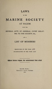 Cover of: Laws | Marine Society at Salem