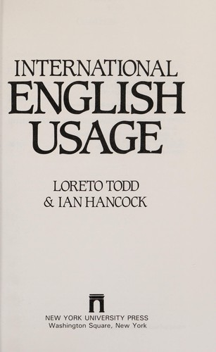 International English usage by Loreto Todd