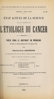 Cover of: État actuel de la science sur la question de l'étiologie du cancer ...