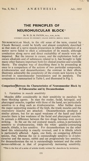 Cover of: The principles of neuromuscular block | William D. M. Paton