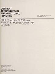 Cover of: Current techniques in architectural practice |
