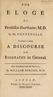Cover of: The eloge of Professor Boerhaave, M.D