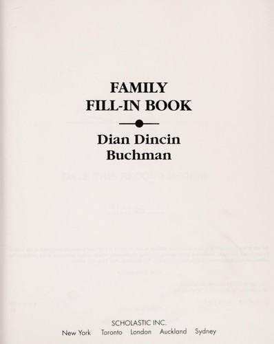 Family Fill-In Book by Dian Dincin Buchman