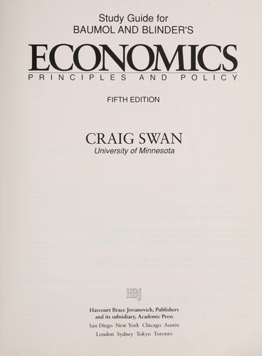 Study guide for Baumol and Blinder's Economics by Craig Swan
