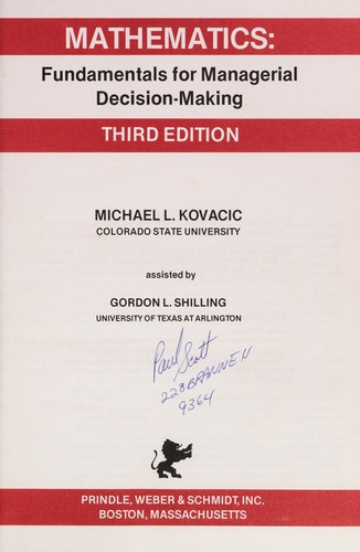 Mathematics, fundamentals for managerial decision-making by Michael L. Kovacic