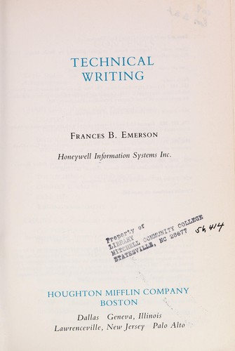 Technical writing by Frances B. Emerson