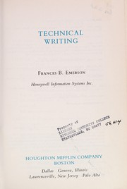 Cover of: Technical writing | Frances B. Emerson