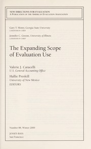 Cover of: The expanding scope of evaluation use |