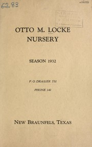 Cover of: Otto M. Locke Nursery, season 1932