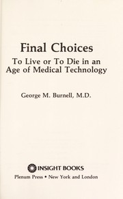 Cover of: Final Choices | GEORGE BURNELL