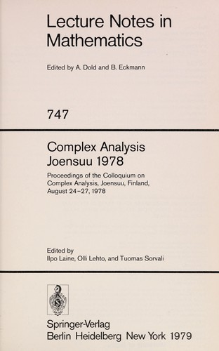 Complex Analysis Joensuu 1978 1979 Edition Open Library