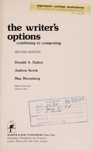 The writer's options by Donald A. Daiker