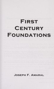Cover of: First century foundations