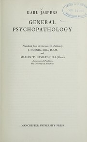 Cover of: General psychopathology | Karl Jaspers
