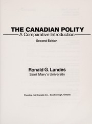 Cover of: The Canadian polity | Ronald G. Landes