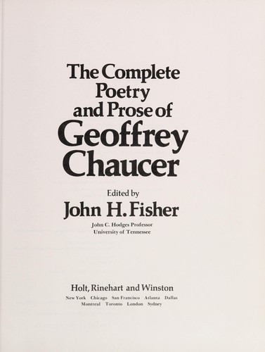 The complete poetry and prose of Geoffrey Chaucer by Geoffrey Chaucer