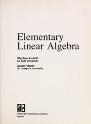 Cover of: Elementary linear algebra | Stephen Francis Andrilli