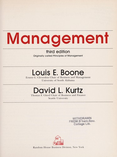 Management by Louis E. Boone