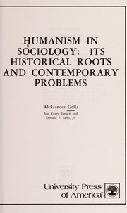 Cover of: Humanism in Sociology