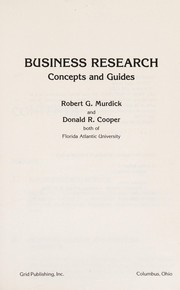 Cover of: Business research | Robert G. Murdick