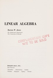 Cover of: Linear algebra