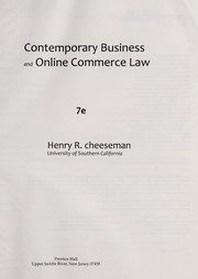 Cover of: Contemporary business and online commerce law | Henry R. Cheeseman