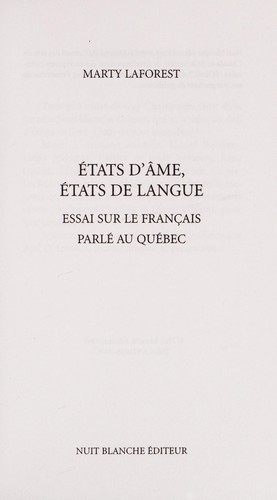 Etats d'âme, états de langue by Marty Laforest