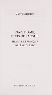 Cover of: Etats d'âme, états de langue | Marty Laforest