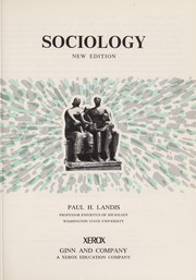 Cover of: Sociology | Landis, Paul Henry