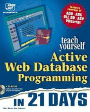 Cover of: Sams Teach Yourself Active Web Database Programming in 21 Days | Alexander Stojanovic