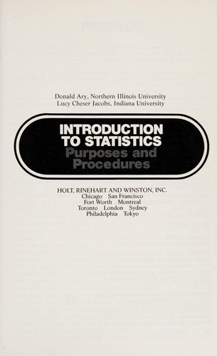 Introduction to statistics by Donald Ary
