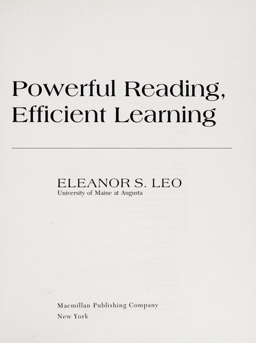 Powerful reading, efficient learning by Eleanor S. Leo