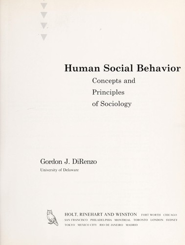 Human social behavior by Gordon J. DiRenzo