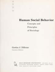 Cover of: Human social behavior | Gordon J. DiRenzo