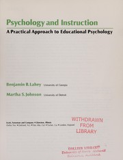 Cover of: Psychology and instruction | Benjamin B. Lahey