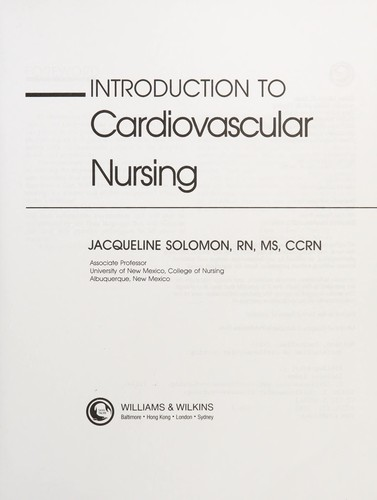 Introduction To Cardiovascular Nursing by Jacqueline Solomon