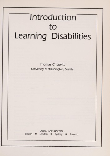 Introduction to learning disabilities by Thomas C. Lovitt