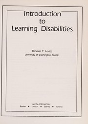 Cover of: Introduction to learning disabilities | Thomas C. Lovitt
