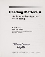 Cover of: Reading Matters 4 | Mary Lee Wholey, Nadia Henein