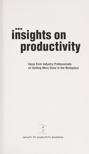 Insights on productivity by Network for Productivity Excellence
