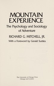 Cover of: Mountain Experience | Jr. Richard G. Mitchell