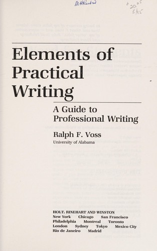 Elements of practical writing by Ralph F. Voss