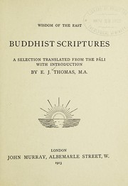 Cover of: Buddhist scriptures | Thomas, E. J.
