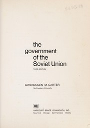 Cover of: The Government of the Soviet Union | Gwendolen M. Carter