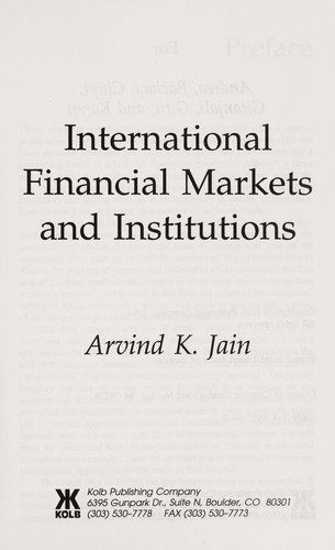 Cover Of International Financial Markets And Institutions
